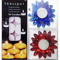 10 PC TEALIGHT CANDLES PLAIN + 2 PC KUNDAN FLOATING CANDLES