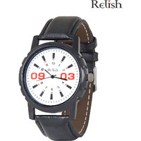 Relish Black Analog Leather Casual Wear Watch For Men - 83169396