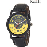 Relish Black Analog Leather Casual Wear Watch For Men - 83169476