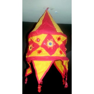 Raashi Yellow & Red Appliqued and Mirrorwork Foldable Hanging Cloth Lamp Shade -Cloth