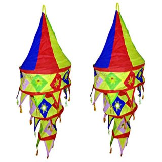 Raashi Multi colour Appliqued and Mirrorwork Foldable Hanging Cloth Lamp Shade -Cloth