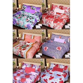 Akash Ganga Beautiful Combo of 6 Double Bedsheets with 12 Pillow Covers (AG1256)