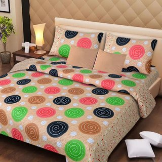 Akash Ganga Multi-Colour Double Bedsheet with 2 Pillow Covers (AG1259)