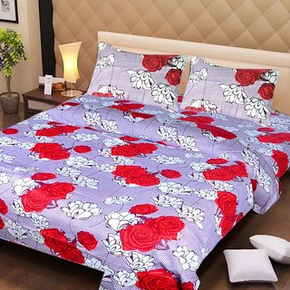 Akash Ganga Multi-Colour Cotton Double Bedsheet with 2 Pillow Covers (AG1262)
