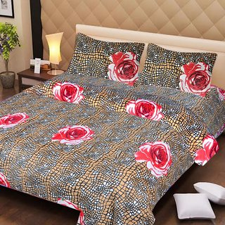 Akash Ganga Multi-Colour Cotton Double Bedsheet with 2 Pillow Covers (AG1264)