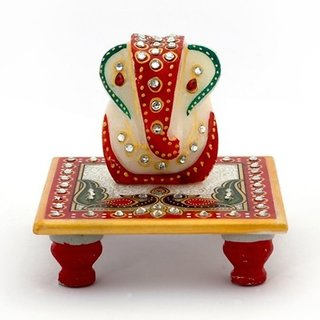 Marwal Marble Crystal studded Lord Ganesha Chowki with Peocock and Kalash