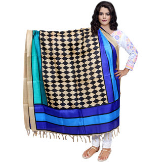 Lifetime Women Bhagalpuri/Tussar Silk Digital Print Blue Dupatta (80715-IW)
