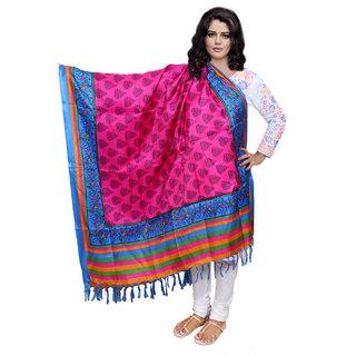 Lifetime Women Bhagalpuri/Tussar Silk Digital Print Pink Dupatta (80724-IW)