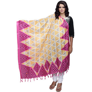 Lifetime Women Bhagalpuri/Tussar Silk Digital Print Yellow+Pink Dupatta (80756-IW)