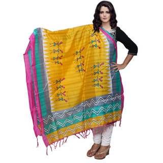 Lifetime Women Bhagalpuri/Tussar Silk Digital Print Yellow Dupatta (80768-IW)