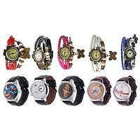 Pack Of 5 Vintage Watches For Girl + 5 Graphic Watches For Men