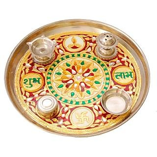 Villcart Meenakari Pooja Thali - 9 inch