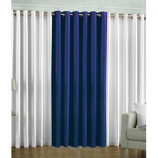 Fabbig White and Navy Blue Crushed Door Curtain (Set of 3)