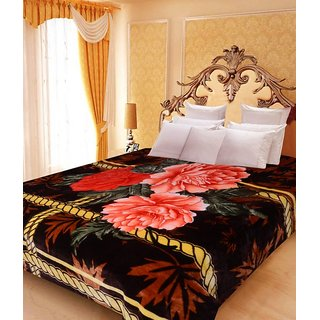 Akash Ganga Floral Double Bed Mink Blanket (BD28)