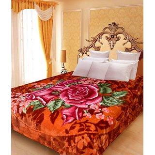 Akash Ganga Floral Double Bed Mink Blanket (BD30)