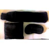 Black Satin Travel Kit Pouch Set Include Satin Eye Mask  1pair Disposable Socks