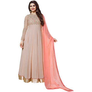 Inddus Women Beige  Peach Embroidered  Embellished Unstitched Dress Material
