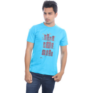 Fabilano Mens Cotton Round Neck Turquoise Graphics T-Shirt rng07