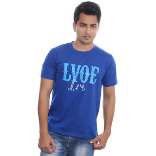 Fabilano Mens Cotton Round Neck Blue Graphics T-Shirt rng05