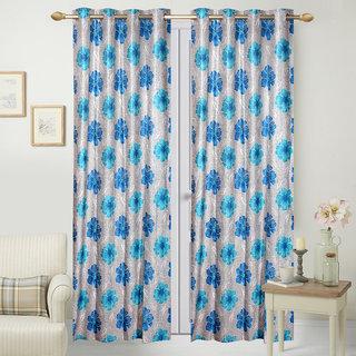 Fresh From Loom Polyester Door Curtain- Set of two (791-Samrat-52-Blue-2pc-7feet)