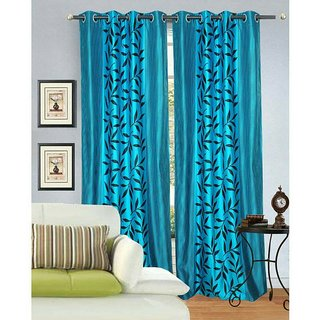 Fresh From Loom Polyester Door Curtain- Set of two (823-Supremo-Kolaveri-Dark-Blue-2pc-7feet)