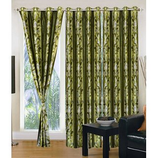 Fresh From Loom Polyester Door Curtain- Set of two (807-Supremo-62-Green-2pc-7feet)