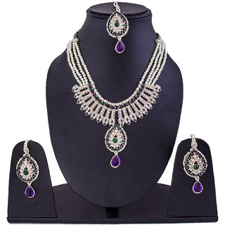 Jewelroom Green Purple Stone Neckles
