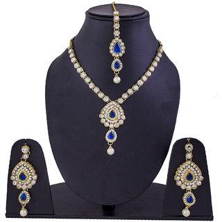 Jewelroom Skyblue Stone Gold Neckles
