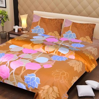 Akash Ganga Brown Cotton Double Bedsheet with 2 Pillow Covers (AG1266)
