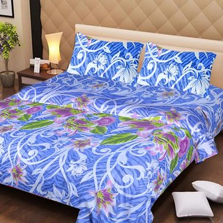 Akash Ganga Blue Cotton Double Bedsheet with 2 Pillow Covers (AG1272)