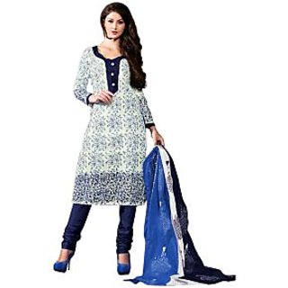 Drapes Blue And White Cotton Printed Salwar Suit Dress Material