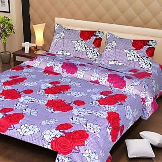 Akash Ganga Purple  Red Cotton Double Bedsheet with 2 Pillow Covers (AG1273)