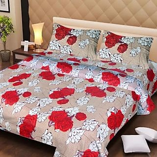 Akash Ganga Beautiful Cotton Double Bedsheet with 2 Pillow Covers (AG1274)