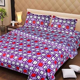 Akash Ganga Purple Cotton Double Bedsheet with 2 Pillow Covers (AG1276)