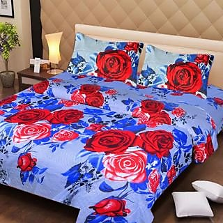 Akash Ganga Blue Cotton Double Bedsheet with 2 Pillow Covers (AG1277)