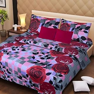 Akash Ganga Multi-Colour Cotton Double Bedsheet with 2 Pillow Covers (AG1278)