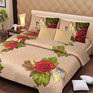 Akash Ganga Brown Cotton Double Bedsheet with 2 Pillow Covers (AG1280)
