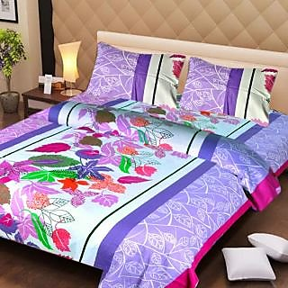 Akash Ganga Multi-Colour Cotton Double Bedsheet with 2 Pillow Covers (AG1281)