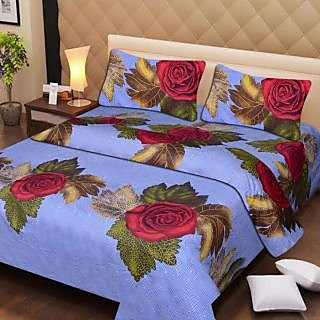 Akash Ganga Cotton Double Bedsheet with 2 Pillow Covers (AG1282)