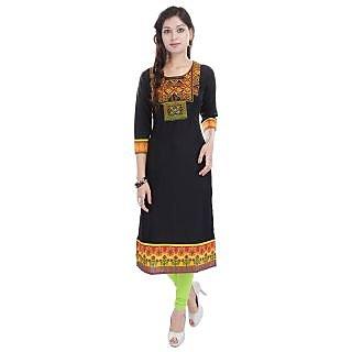 Koshika Black Rayon long kurta with print on sleeve and bottom with embroered on