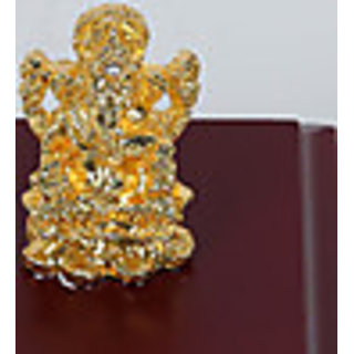 Gold Plated Brass Ganesha on Piece of Solid Wood