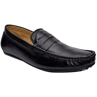 Hirels Black Leather Loafers