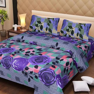 Akash Ganga Multi-Colour Cotton Double Bedsheet with 2 Pillow Covers (AG1286)