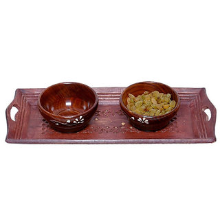Onlineshoppee Wooden Handmade 2 Dry Fruit bowl  1 Serving Tray Size (lxbxh-15x6