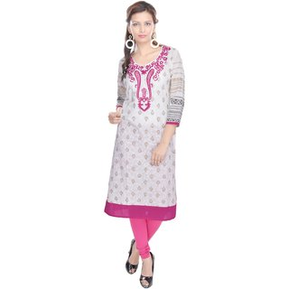 Vihaan Impex Indian Nice White Jaipuri Cotton Kurti