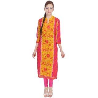 Vihaan Impex Indian Instyle Yellow Jaipuri Cotton Kurti