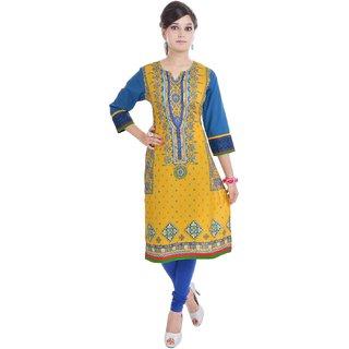 Vihaan Impex Indian Yellow Jaipuri Cotton Kurti