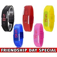 Nylon Multicolour Water Resistent Pack Of 5 Friendship Watch Bracelets