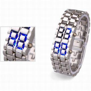 Stainless Steel Silver Belt Blue LED Bracelet Sport Digital Watch For Men, Boys