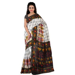 Florence White  Black Bhagalpuri Silk Printed Saree (Fl-10775)